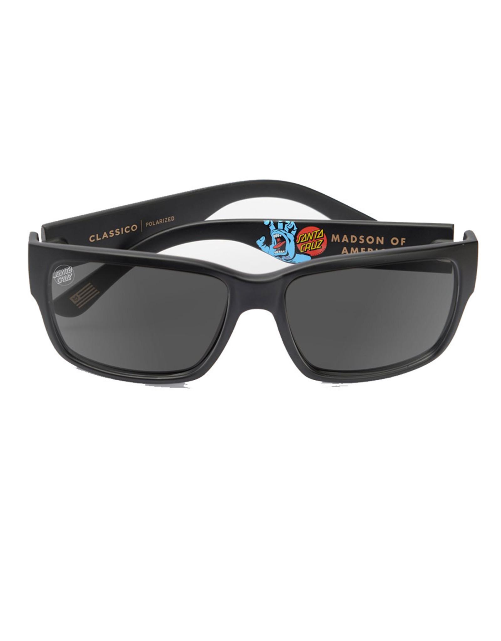 Madson Madson Sunglasses Classico Santa Cruz Screaming Hand (Black Matte/Grey Polarized Lens)