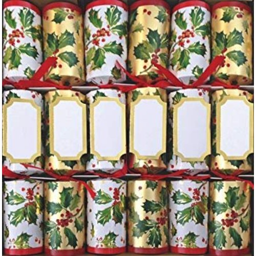 Caspari Caspari Gilded Holly Christmas Crackers