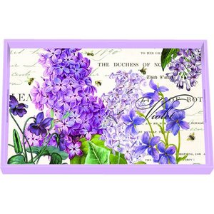 Michel Design Works Michel Lilac and Violets Vanity Decoupage Wooden Tray