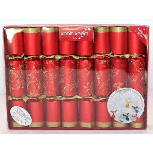 Robin Reed Red Floral Glitter Christmas Crackers