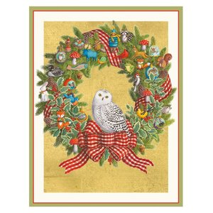 Caspari Snowy Owl Wreath Boxed Christmas Cards