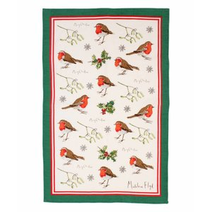 Linen Tea Towel Robins & Holly