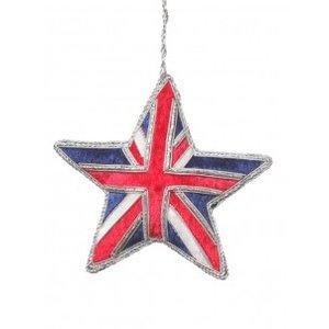St. Nicolas St. Nicolas Union Jack Sparkly Star Ornament