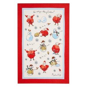 Madeleine Floyd Santa & Snowmen Linen Tea Towel