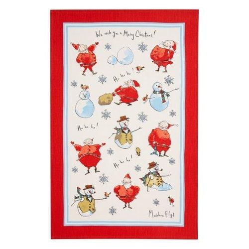 Santa & Snowmen Linen Tea Towel