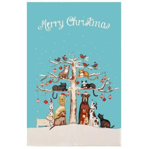 Ulster Weavers Christmas Cats & Dogs Linen Tea Towel
