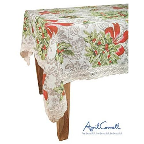 April Cornell Deck the Holly Tablecloth