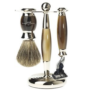 Edwin Jagger Edwin Jagger 3pc Imitation Horn & Chrome Shaving Set