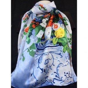 100% Austrian Silk Art Scarf - F. Bazille Flowers