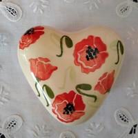 peregrine pottery poppy heart box