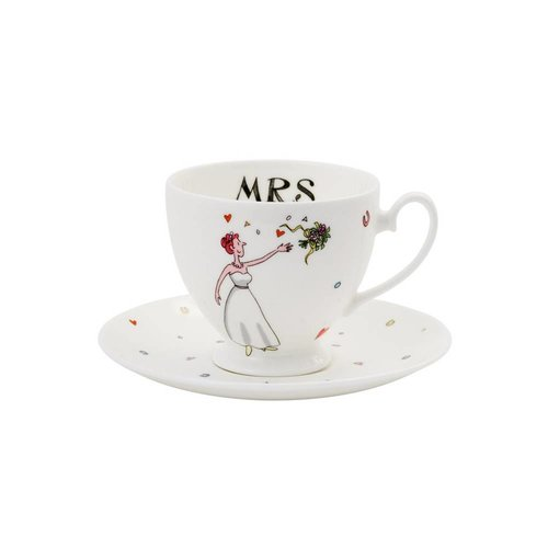 Alison Gardiner Mrs Wedding Teacup & Saucer