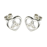 Solvar Small  Celtic Knot in Heart Stud Earrings