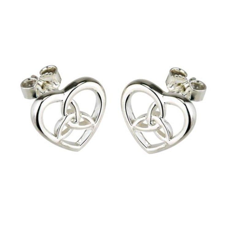 Solvar Solvar Small Sterling Silver Celtic Knot in Heart Stud Earrings