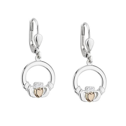 Solvar Silver & Gold Claddagh Heart Drop Earrings