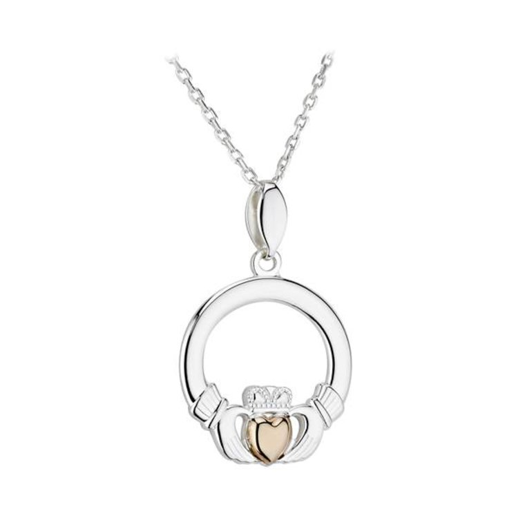 Solvar Silver & Gold Claddagh Necklace