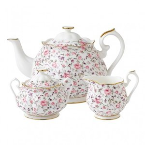 Royal Albert Royal Albert Teapot Sugar Cream Vintage 3p Set Rose Confetti