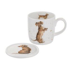Wrendale Wrendale Hello Sausage  (Dog) Mug & Coaster Set