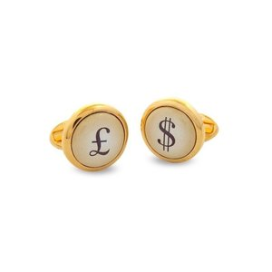 Halcyon Days Halcyon Days Pound & Dollar Round Gold Cufflinks
