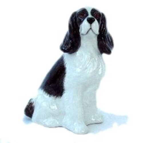 Quail Ceramics Quail Black & White Cocker Spaniel Figures