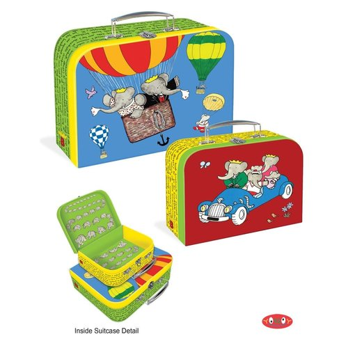 "Babar Suitcases/Set of Two-Large(10.75"" x 9 x 3.5"") and Small (7.75"" x 6.5"" x 2.75"")"