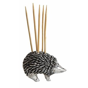 "Creative Co-Op 1""H Pewter Hedgehog Toothpick Holder with 5 Toothpicks"