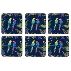 Portmeirion Sara Miller Parrot Coasters Set of 6