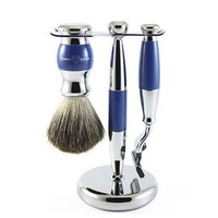 Edwin Jagger 3 pc Classic Shaving Accessories Mach 3 Razor, Shaving Brush  Imitation Blue Pure Badger Chrome Plated Stand