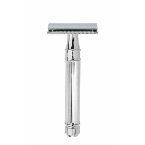 Edwin Jagger Edwin Jagger Double Edge Safety Razor Extra Long Handle Lined Chrome Plated