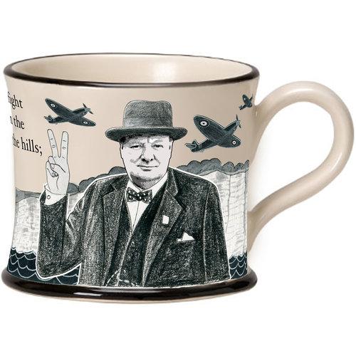 Moorland Pottery Moorland Pottery Winston Churchill Never Surrender Mug