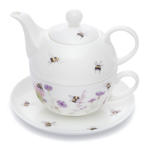 Mosney Mill Mosney Mill Bee and Flower Tea for One Teapot & Cup
