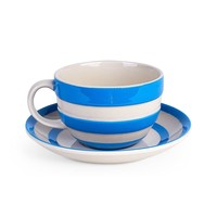 Cornishware Teacup and Saucer - Blue