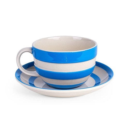Cornishware Cornishware Teacup and Saucer - Blue