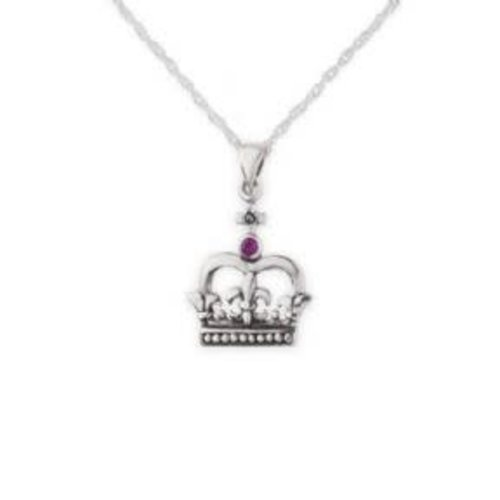 Hamilton & Young Silver Scottish Crown Pendant with Ruby Colour Stone