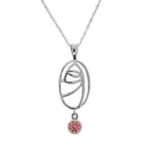 Hamilton & Young Mackintosh Silver Glasgow Pendant with Rose Coloured Stone
