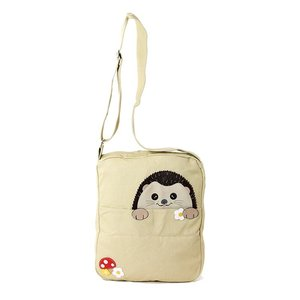 Sleepyville Peeking Hedgehog Canvas Messenger Bag