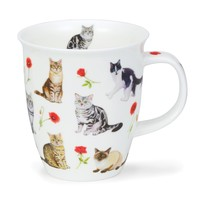 Dunoon Nevis Flower Cats Red Mug