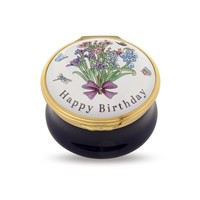 Halcyon Days Happy Birthday Bouquet Enamel Box
