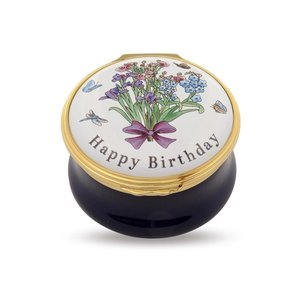 Halcyon Days Halcyon Days Happy Birthday Bouquet Enamel Box
