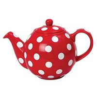 London Pottery Globe Teapot 6 Cup Red/White Spots