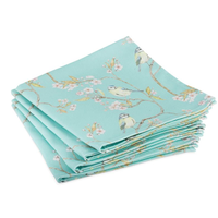 Mosney Mill Turquoise Blue Tit and Blossom Napkins