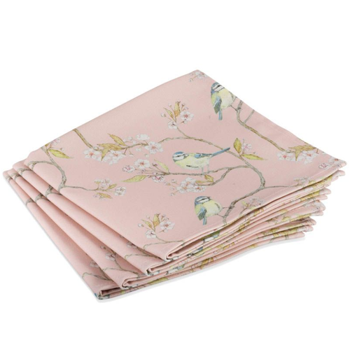 Mosney Mill Mosney Mill Pink Blue Tit and Blossom Napkins