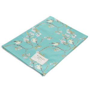 Mosney Mill Mosney Mill Blue Tit on Blossom Ditsy Print Tea Towel (Turquoise)