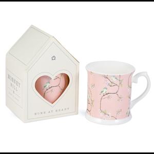 Mosney Mill Mosney Mill Blue Tit on Blossom China Mug (Pink)