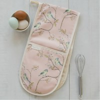 Mosney Mill Blue Tit on Blossom Double Oven Gloves Ditsy Print (Pink)