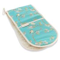 Mosney Mill Blue Tit on Blossom Double Oven Gloves Ditsy Print (Turquoise)