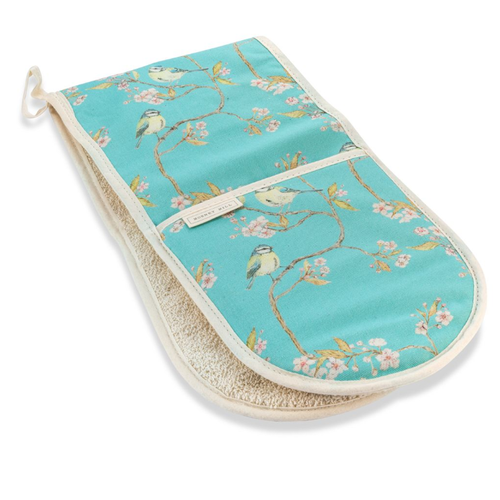 Mosney Mill Mosney Mill Blue Tit on Blossom Double Oven Gloves Ditsy Print (Turquoise)