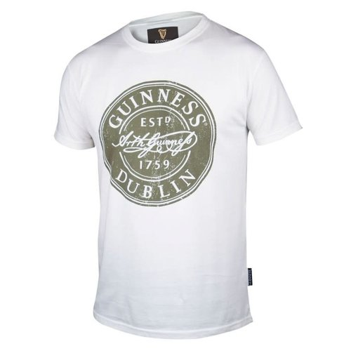 Guinness White Distressed Label Bottle Cap Tee