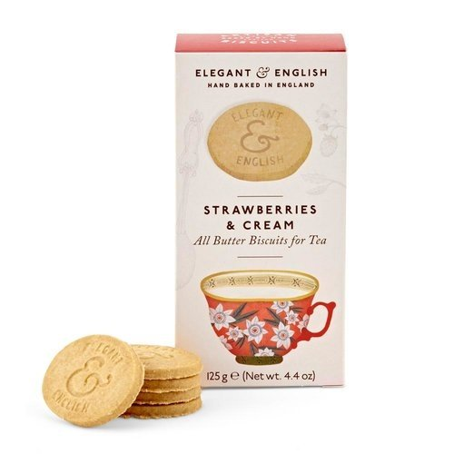 Elegant & English Strawberries and Cream Shortbread Biscuits