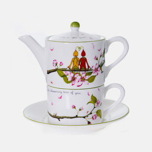 Emma Dunne Limited Emma Dunne Alice Tea For One Teacup Teapot & Saucer Wedding