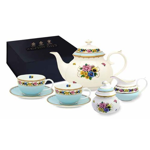 Halcyon Days Halcyon Days CoM Shell Garden Tea for Two Boxed Set